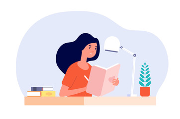 Girl diary. Woman write journal. Student studying with book. Teenager draws in cute paper notebook. Vector female character illustration. Write journal teen, note in diary, notebook writer