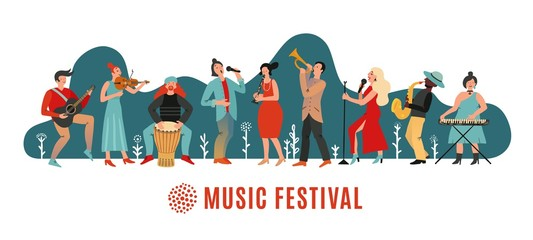 Music festival. International concert, musical event banner. Musicians with instruments, open air party poster. Vector festive background. Illustration event acoustic performance Fotomurales