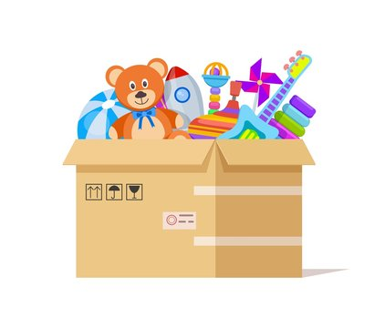 Toy box. Donate toys, charity kids support. Volunteer donations for poor children in cardboard parcel. Endowing child vector illustration. Donation box humanitarian with toys, rocket and teddy