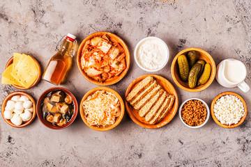 Fermented food, probiotics, top view