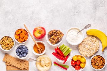 Healthy snack concept, top view.