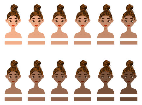 Set with girls with different skin colors from light to dark. Cartoon style. Vector illustration.