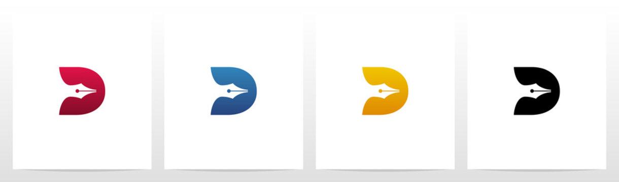 Pen Head On Letter Logo Design D