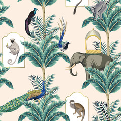 Vintage garden banana tree, exotic bird, peacock, monkey, elephant, bird,lemur floral seamless pattern pink background. Exotic chinoiserie wallpaper.