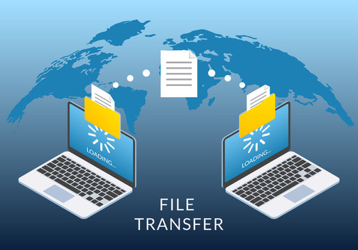 File transfer concept. Two Laptop computers with folders send and upload documents. File copy, data or information exchange design.