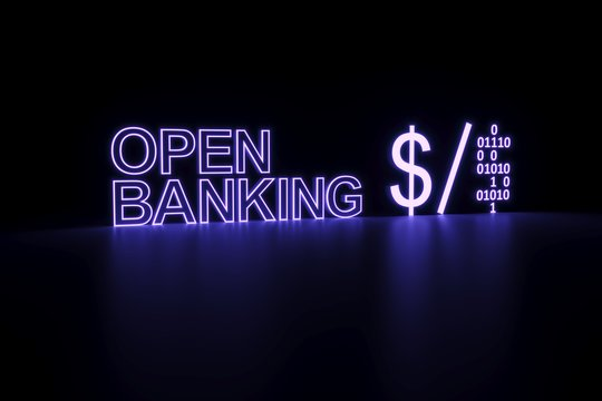 OPEN BANKING neon business concept self illumination background 3D illustration