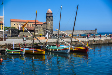 colorful boats on the coast of France Collioure. French catalog