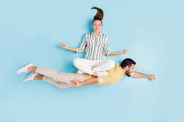 Fotobehang Zen Top view above high angle flat lay flatlay lie concept view of nice inspired spouses flying enjoying hobby leisure isolated on bright shine pastel blue turquoise color background