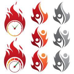Set of design vector isolated fire emoji