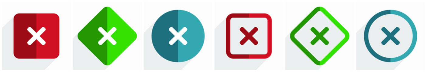 Cancel icon set, flat design vector illustration in 6 options for webdesign and mobile applications in eps 10