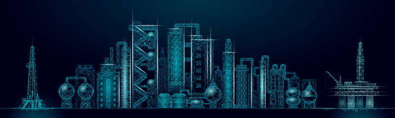 Petroleum oil refinery complex panorama business concept. Finance economy polygonal petrochemical production plant. Petroleum fuel industry will pipeline. Ecology solution blue vector illustration