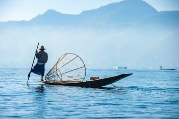 Poster Peche Fishermen at Inle lake, Shan State, Myanmar