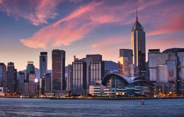 Fotomurales - Hong Kong skyscrapers with red sky