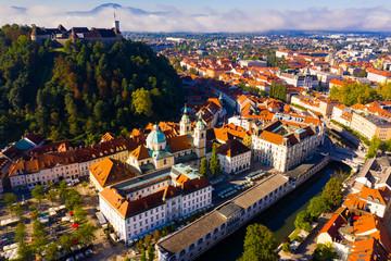 Historical center of Ljubljana with Castle Hill Fotomurales