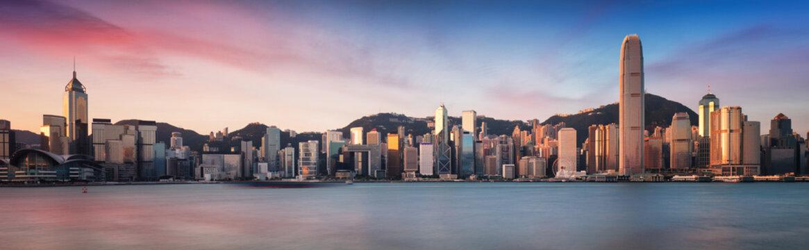 Hong Kong skyline from kowloon, panorama at sunrise, China - Asia