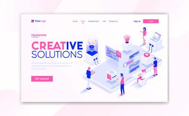 Wall Mural - Flat Modern design of website template - Creative Solutions