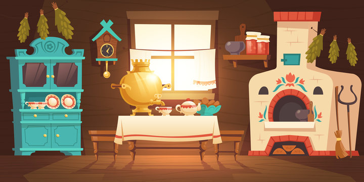 Interior of old russian kitchen, ukrainian ancient rural house with oven, samovar, cuckoo-clock and grip. Vector cartoon illustration of empty wooden room with traditional russian furniture and stove