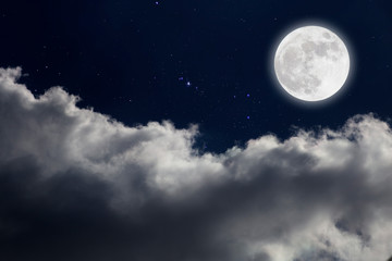 Printed roller blinds Night Full moon with starry and clouds background. Romantic night.