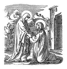 Vintage drawing or engraving of biblical story of virgin Mary, mother of Jesus, visiting saint Elizabeth. Bible, New Testament,Luke 1. Biblische Geschichte , Germany 1859.