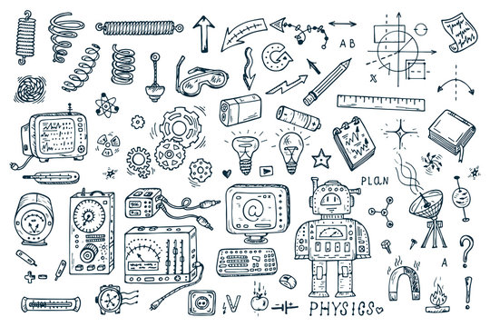 Science icons. Hand drawn doodles Physics Set. Robot, Measuring equipment, instrumentation and elements