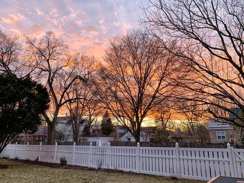 sunset in a neighborhood in Evanston, Illinois