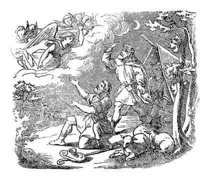 Vintage drawing or engraving of biblical story of angel speaking to shepherds near Bethlehem about bird of Jesus.Bible, New Testament,Luke 1. Biblische Geschichte , Germany 1859.