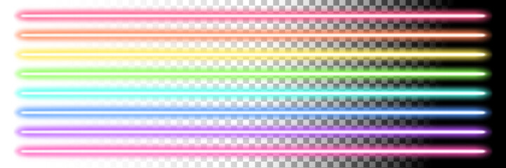Neon glow sticks. Fluorescent laser line lights and disco lamps.