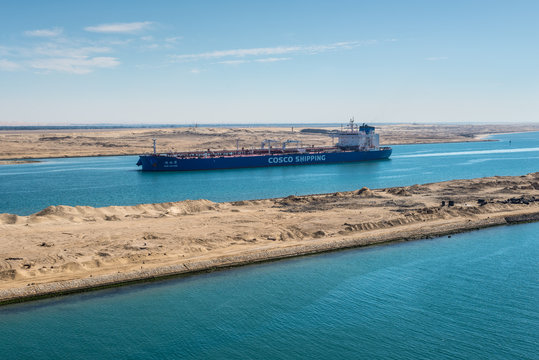 Ismailia, Egypt - November 5, 2017: Crude Oil Tanker Nan Lin Wan vessel passing the New Suez Canal near Ismailia, Egypt, Africa.