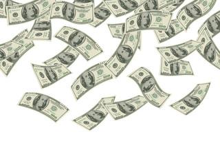 Money falling. Business concept dollars banknotes cash rain economic investment products wealth vector background. Illustration cash falling, finance economic success