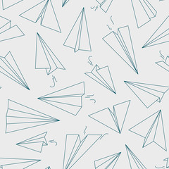 Airplane pattern. White paper linear concept background for travellers free aviation symbols vector outline seamless picture. Illustration airplane seamless pattern, paper transportation toys