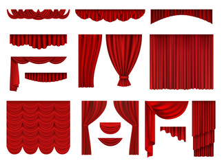 Red curtains. Textile theatrical opera scenes decoration curtains vector realistic collection set. Fabric curtain velvet, presentation theatrical illustration