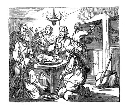 Vintage drawing or engraving of biblical story of the Passover, Eastern lamb eaten before Israelite left the slavery in Egypt.Bible, Old Testament,Exodus 12. Biblische Geschichte , Germany 1859.