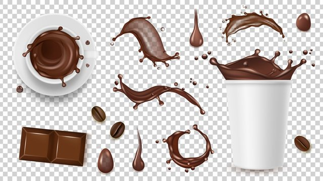 Realistic coffee set. Drink splashes, coffee beans and take away cup, chocolate isolated on transparent background vector elements. Cup of chocolate and coffee drink, hot beverage illustration
