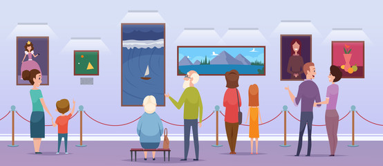 Art gallery. People watching a pictures in museum place painting exhibition portraits students artwork vector cartoon characters. Gallery and museum, exhibition exposition illustration