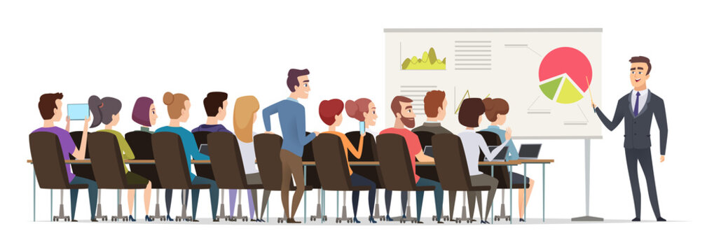 Business lecture. Managers sitting in conference hall and listen speech of business couch public executive group vector. Illustration presentation meeting, teaching and speaker speech conference