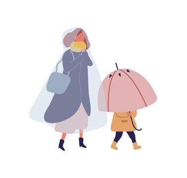 Cartoon little kid holding umbrella walking under rain with mother