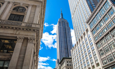New York City, USA - April 30, 2015 : Empire State Building from 5th Avenue
