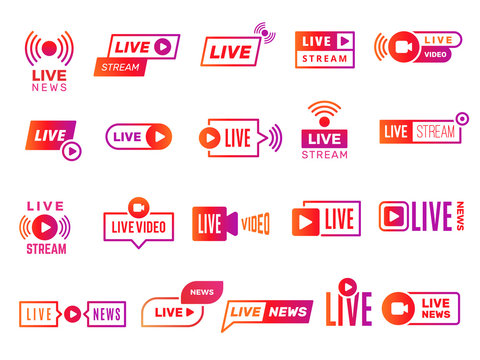 Live stream badges. Video broadcasting shows digital online text templates live news vector stickers collection. Illustration video stream, live streaming online