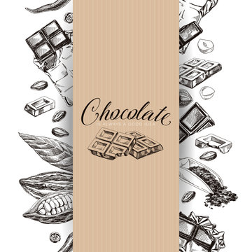 Chocolate hand drawn retro vector wrapping design