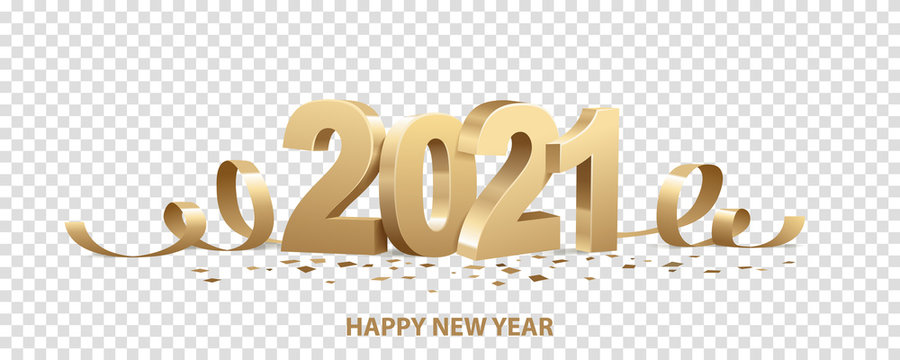 Happy New Year 2021. Golden 3D numbers with ribbons and confetti , isolated on transparent background.