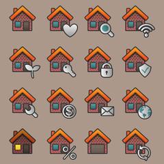 Flat house icon set. Vector illustration