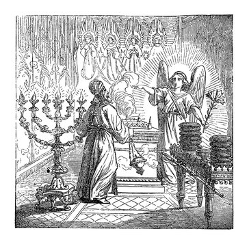Vintage drawing or engraving of biblical story of the birth of John the Baptist foretold. Angel Gabriel is talking to priest Zechariah in temple of God. Bible, New Testament,Luke 1. Biblische
