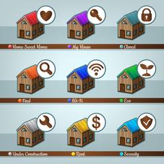House icon set. Vector illustration.