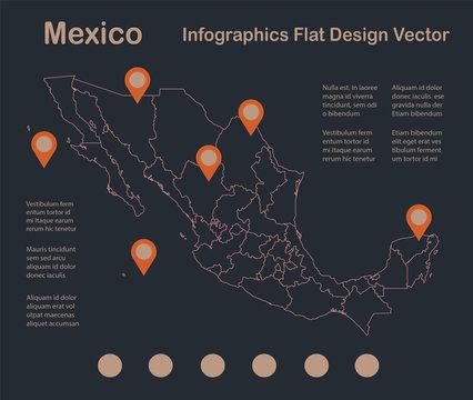 Infographics Mexico map outline, flat design, color blue orange vector
