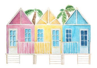 Watercolor colorful beach houses. Townhouses