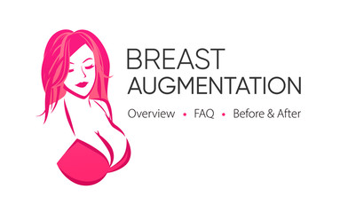 Breast Augmentation Logo with Image, Title and Tagline - Flyer Mockup. Nude Girl with Big Boobs in Bra in Pink color.