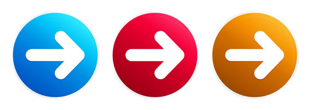 Next arrow icon premium trendy round button set