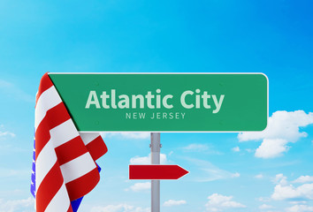 Atlantic City – New Jersey. Road or Town Sign. Flag of the united states. Blue Sky. Red arrow shows the direction in the city. 3d rendering Fototapete