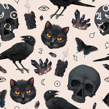Seamless pattern with raven and black cat