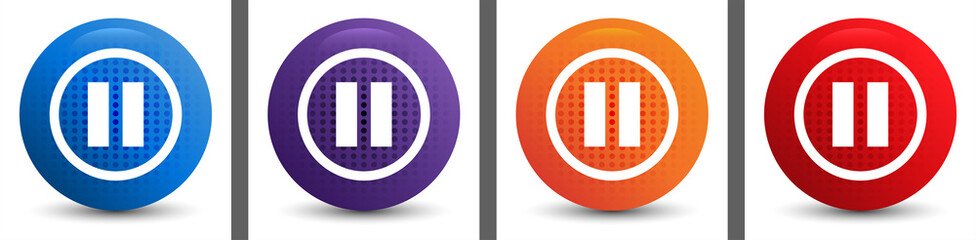 Pause icon abstract halftone round button set
